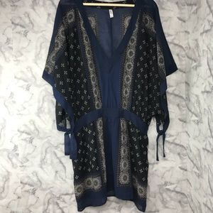 Free People Print V-Neck Tunic Top